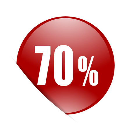 70 percent red circle glossy web icon