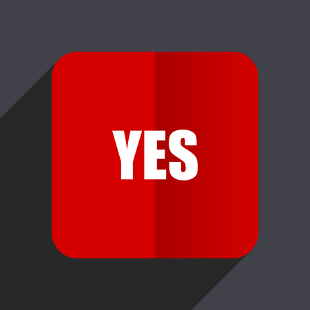 Illustration pour Yes flat design white and red vector web icon on gray background with shadow in eps10. - image libre de droit