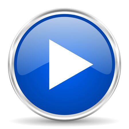 Illustration pour Play blue glossy icon. - image libre de droit