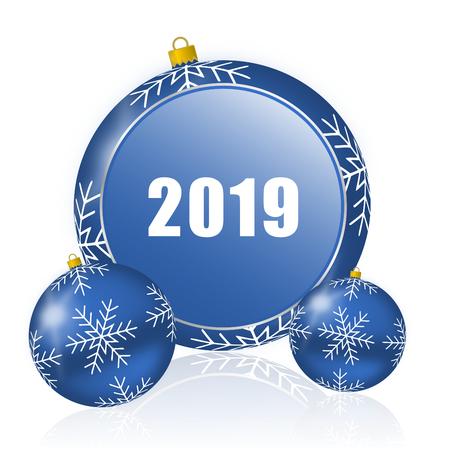 Photo pour New year 2019 blue christmas balls icon - image libre de droit