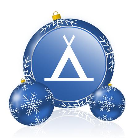Foto de Camp blue christmas balls icon - Imagen libre de derechos
