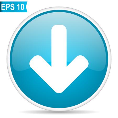 Ilustración de Download arrow blue round glossy web vector icon. - Imagen libre de derechos