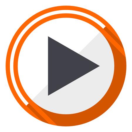 Illustration pour Play orange flat design vector web icon - image libre de droit