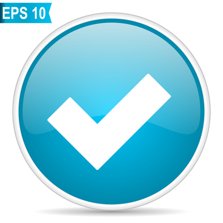 Ilustración de Accept blue glossy round vector icon in eps 10. Editable modern design internet button on white background. - Imagen libre de derechos
