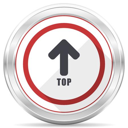 Photo for Top silver metallic chrome border round web icon on white background - Royalty Free Image