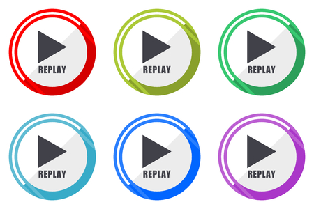 Illustration pour Replay vector icon set. Colorful flat design web icons on white background in eps 10. - image libre de droit