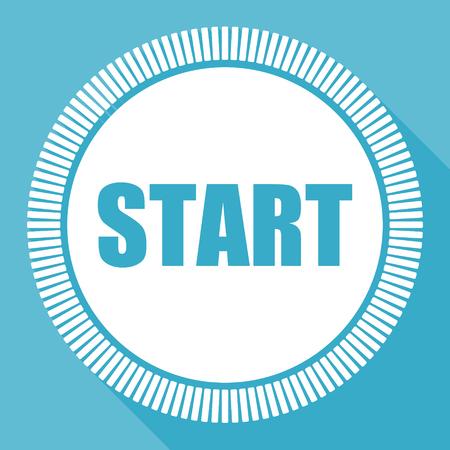 Illustration pour Start editable flat vector icon, square web button, blue computer and smartphone application sign in eps 10 - image libre de droit
