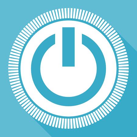 Illustration pour Power blue flat design vector icon, square web energy button - image libre de droit