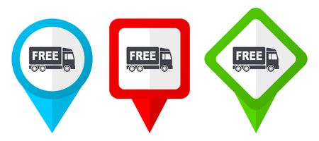 Illustration pour Free delivery red, blue and green vector pointers icons. Set of colorful location markers isolated on white background easy to edit. - image libre de droit