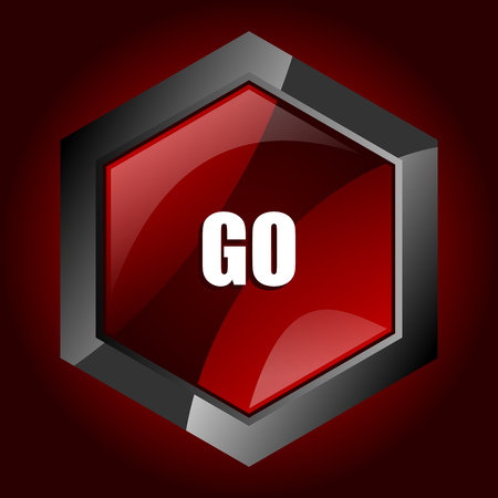 Illustration pour Go dark red vector hexagon icon - image libre de droit