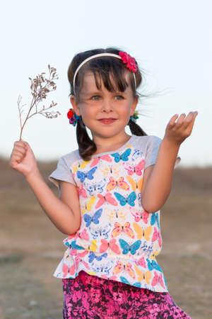 Portrait of little girl with pigtails. Preschooler girl posing with dry flower outdoors in evening time