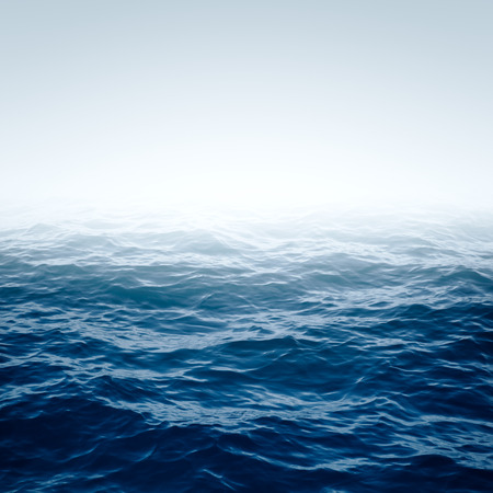 Foto de Blue Ocean with waves and clear blue sky Blue water surface - Imagen libre de derechos