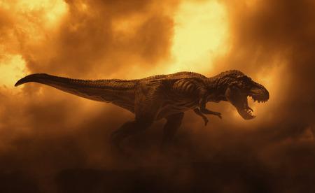 Photo pour dinosaurs t rex on fire background smoke - image libre de droit