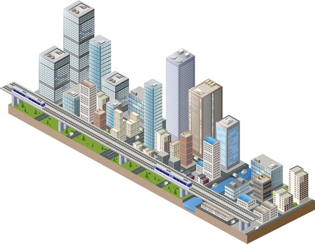 Foto de Vector isometric city center on the map with lots of buildings, skyscrapers, factories, and parks - Imagen libre de derechos