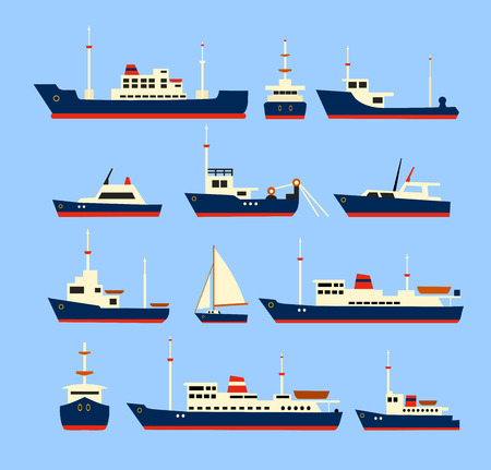 Ships set. Silhouettes of various ships and yachts.