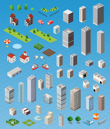 Foto de Isometric city map road, trees and building home elements set isolated vector illustration. - Imagen libre de derechos