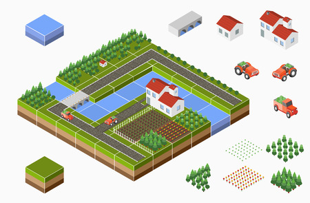 Illustration for Isometric landscape of countryside with farm, tractor, harvest, the beds and the river. - Royalty Free Image