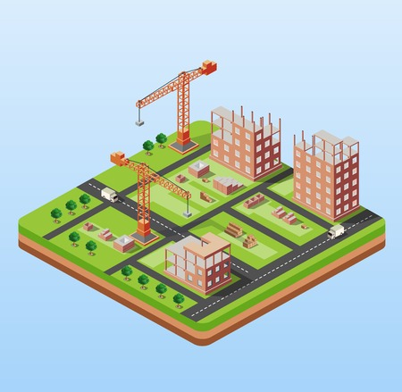 Photo pour Industrial city building with construction cranes and building houses, a car made in perspective isometric - image libre de droit