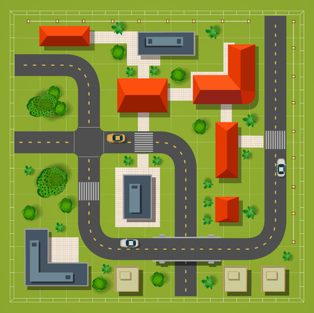 Illustration pour Top view of the city with the city road building cars and trees - image libre de droit