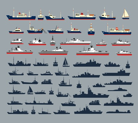 Illustration pour Set of silhouettes of ships, consisting of numerous warships, naval vessels, yachts and cruise ships, ships and pleasure boats for a cruise. - image libre de droit