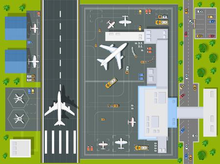 Ilustración de Overhead   point of view airport with all the buildings, planes, vehicles and airport runway - Imagen libre de derechos