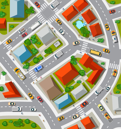 Illustration pour Top view of the  Urban crossroads with cars and houses - image libre de droit