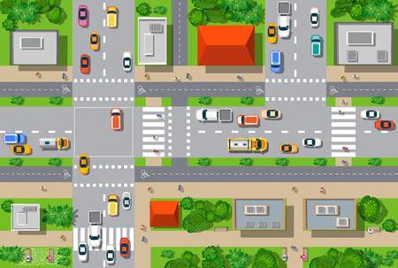 Illustration pour Top view of the city from the streets, roads, houses, and cars - image libre de droit