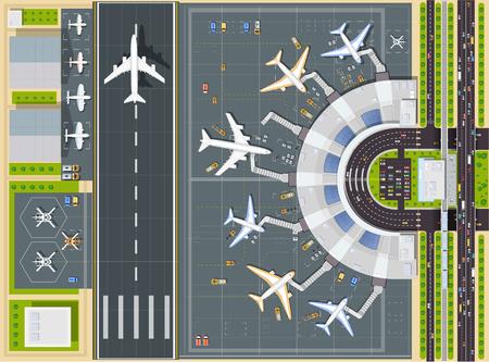 Ilustración de Airport top view  with the aircraft, the terminal building and runway - Imagen libre de derechos