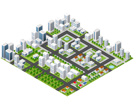 Illustration pour Great 3D metropolis of skyscrapers, houses, gardens and streets in a three-dimensional isometric view - image libre de droit