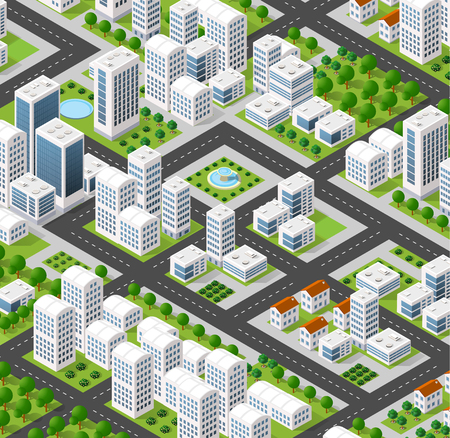 Illustration pour 3D isometric city landscape of skyscrapers, houses, gardens and streets in a three-dimensional top view - image libre de droit