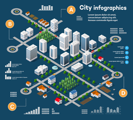Illustration pour 3D city isometric three-dimensional infographics including skyscrapers, homes and stores with streets and trees in the area of the city with the business conceptual graphs and diagrams - image libre de droit