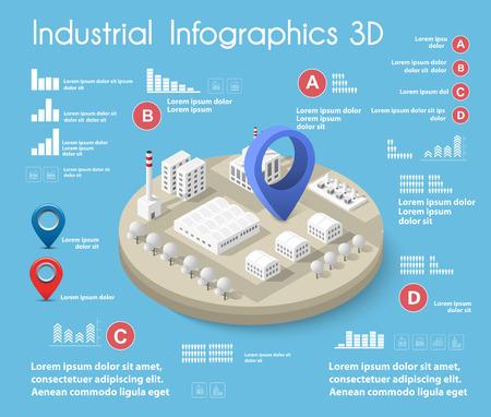 Ilustración de Industrial graphic information with city isometric illustration. - Imagen libre de derechos