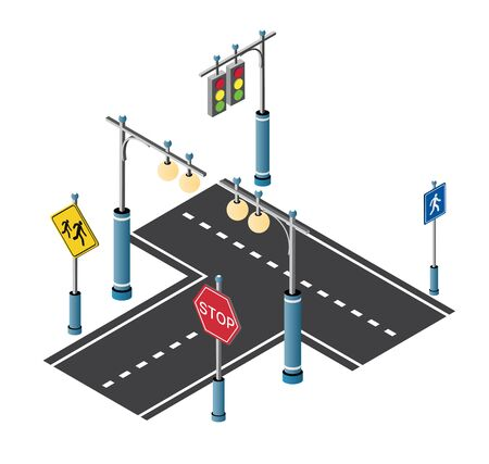 Illustration pour City driveway street with road signs and street lamps. Isometric cityscape vector modern urban background - image libre de droit