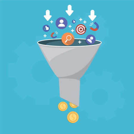 Foto de Sales funnel and lead generation, monetization of sales process, a purchase funnel, is the visual representation of the customer journey - Imagen libre de derechos