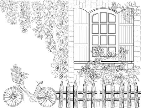 Illustration for Hand drawn ink pattern. Coloring book for adult - Royalty Free Image