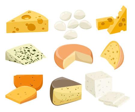 Ilustración de Pieces of Cheese isolated on white. Popular kind of cheese icons isolated. Cheese types. Modern flat style realistic vector illustration - Imagen libre de derechos