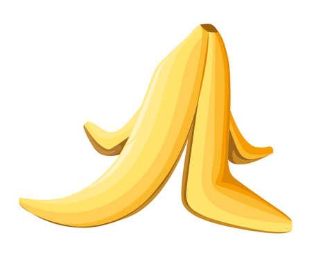 Ilustración de Banana peel on a white background. Vector illustration. on white background Web site page and mobile app design for game. - Imagen libre de derechos