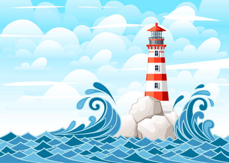 Ilustración de Stormy sea with lighthouse on rock stones island. Nature or marine design. Flat style. Vector illustration with sky and clouds background. - Imagen libre de derechos