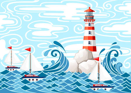 Illustration pour Stormy sea with lighthouse on rock stones island. Small ships on water. Nature or marine design. Flat style. Vector illustration with sky and clouds background. - image libre de droit