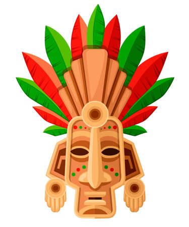 Illustration for Ethnic tribal mask. Mask with green and red leaf. Ritual headdress, colorful. Vector illustration isolated on white background. - Royalty Free Image