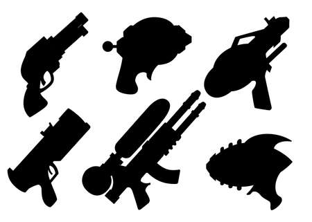 Ilustración de Black silhouette. Cartoon gun collection. Flat vector toys. Space laser guns design. Vector illustration isolated on white background. - Imagen libre de derechos