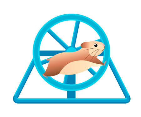Illustrazione per Cute hamster running in rolling wheel. Home pet. Flat vector illustration isolated on white background. - Immagini Royalty Free