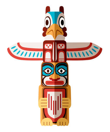 Illustration for Colored Indian Totem. Wooden object symbol animal plant representation family clan tribe. Flat vector illustration isolated on white background. - Royalty Free Image