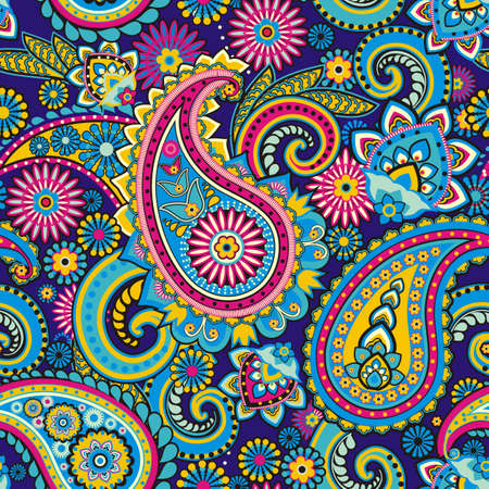 Illustration pour Seamless pattern based on traditional Asian elements Paisley - image libre de droit