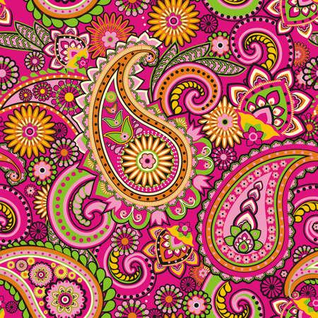 Illustration pour Seamless pattern based on traditional Asian elements Paisley - image libre de droit