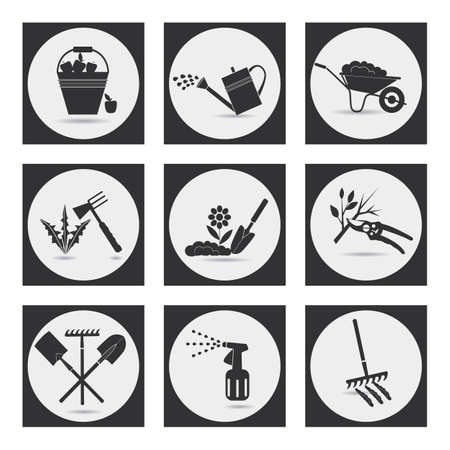 Illustration pour Gardening. Icons on the theme of organic farming. Symbols stages of cultivation of plants. Loosening the soil, fertilization, planting seedlings, watering, spraying and treatment of pests, weed control, pruning, harvesting, removal of fallen leaves. - image libre de droit