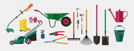 Illustration for Gardening.Tools for working in the garden and kailyard. Adaptations for planting, digging ground, irrigation, fertilizer, spraying, weed control, harvesting in the garden. - Royalty Free Image