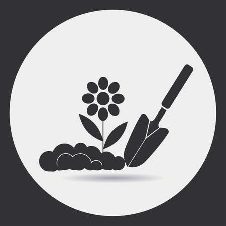 Illustration pour Gardening. Planting seedlings in the ground. A black silhouette on a light background in a round frame. - image libre de droit