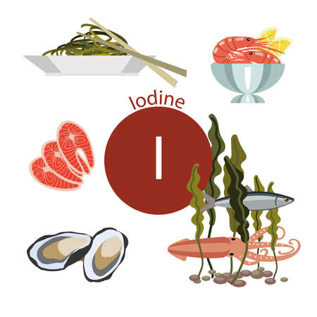 Illustration pour Food rich with iodine. Natural organic products and sign of fluorine. Bases  Healthy lifestyle - image libre de droit