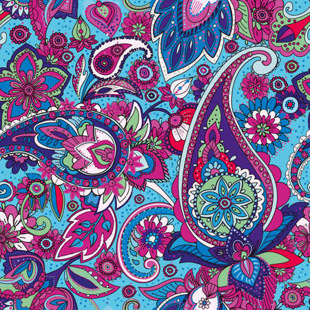 Illustration pour A Seamless pattern based on traditional Asian elements Paisley. - image libre de droit